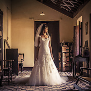 A Christian Catholic bride at her anccestral home in Goa, ready to leave for her church wedding. Goa 2010