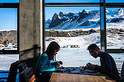 Vik i Myrdal, Iceland, 2 apr 2019, Asian tourist having a breakfast in a hotel