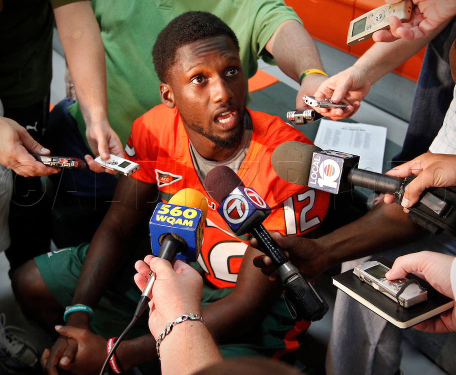 Quarterback Jacory Harris is interviewed during Media Day for the University of Miami Football team on Campus in Coral Gables on August 27, 2011.