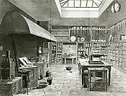 'General view of a chemical laboratory with a number of different furnaces on left, a bench in the centre and equipment on shelves. Engraving from ''Chemical Catechism'', London, 1834, by Samuel Parkes.'