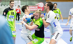 03.02.2017, BSFZ Suedstadt, Maria Enzersdorf, AUT, HLA, SG INSIGNIS Handball WESTWIEN vs HC FIVERS WAT Margareten, HLA Oberes Playoff, 1. Runde, im Bild Vincent Schweiger (HC FIVERS WAT Margareten), Wilhelm Jelinek (SG INSIGNIS Handball WESTWIEN), Markus Kolar (HC FIVERS WAT Margareten) // during Handball League Austria, upper play off, 1 st round match between SG INSIGNIS Handball WESTWIEN and HC FIVERS WAT Margareten at the BSFZ Suedstadt, Maria Enzersdorf, Austria on 2017/02/03, EXPA Pictures © 2017, PhotoCredit: EXPA/ Sebastian Pucher