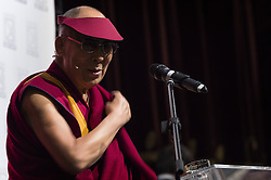 October 20, 2016 - Milan, Italy - Dalai Lama during the ceremony for honorary citizenship, during the meeting organized by the University Bicocca to the Arcimboldi theater on October 20, 2016 in Milan, Italy. The Dalai Lama spiritual leader of Tibetan Buddhism, starts today the first of a three-day visit and spiritual meetings in Milan. (Credit Image: © Fabrizio Di Nucci/NurPhoto via ZUMA Press)