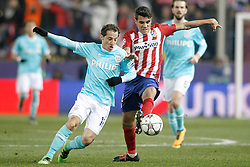 15-03-2016 ESP, UEFA CL, Atletico Madrid - PSV Eindhoven, Madrid<br /> Atletico de Madrid's Augusto Fernandez (r) and PSV Eindhoven's Andres Guardado // during the UEFA Champions League Round of 16, 2nd Leg match between Atletico Madrid and PSV Eindhoven at the Estadio Vicente Calderon in Madrid, Spain on 2016/03/15. <br /> <br /> ***NETHERLANDS ONLY***