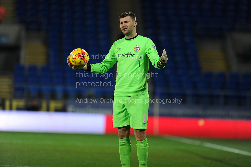 Cardiff city goalkeeper David Marshall shows his frustration. Skybet football league championship match, Cardiff city v Brighton & Hove Albion at the Cardiff city Stadium in Cardiff, South Wales on Tuesday 10th Feb 2015.<br /> pic by Andrew Orchard, Andrew Orchard sports photography.