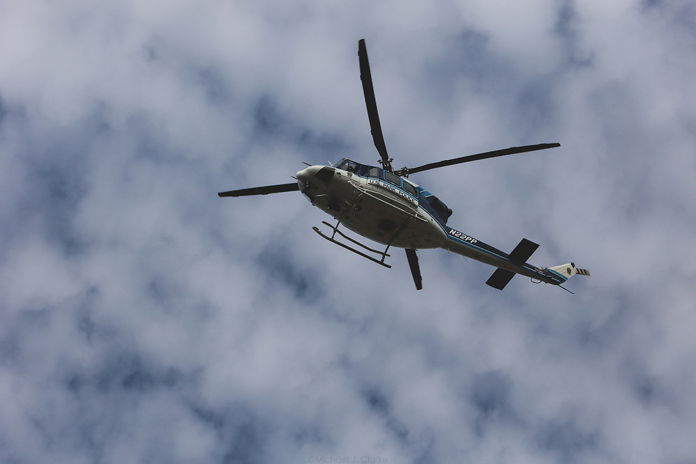 A US Park Police Bell 412 patrolling the skies of Washington DC on a cold autumn morning.