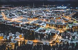 THEMENBILD - Blick auf die finnische Stadt Lahti mit den Lichtern der Stadt im Winter mit Schnee bedeckt, Sendetürme des Rundfunkmuseums, aufgenommen am 08. Februar 2019 in Lahti, Finnland // View of the Finnish city Lahti with the lights of the city in winter covered with snow, Broadcast towers of the Radio Museum. Lahti, Finland on 2019/02/08. EXPA Pictures © 2019, PhotoCredit: EXPA/ JFK