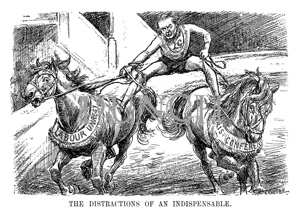 The Distractions of an Indispensable. (Prime Minister david Lloyd George straddles the horses Labour Unrest and Paris Conference in a circus after WW1)
