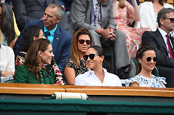 Kate, Duchess of Cambridge, Meghan, Duchess of Sussex and Pippa Matthews attending the women final between Simona Halep (ROU) and Serena Williams (USA) in the women final at the 2019 Wimbledon Championships at the AELTC in London, UK, on July 13, 2019. Photo by Corinne Dubreuil/ABACAPRESS.COM
