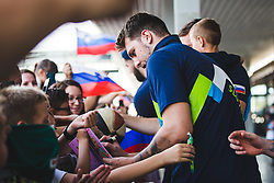 Luka Doncic signing autographs during arrival of Slovenian national team from Tokio 2020 Olympic games, 8. August 2021, Airport Jozeta Pucnika, Ljubljana, Slovenia. Photo by Grega Valancic