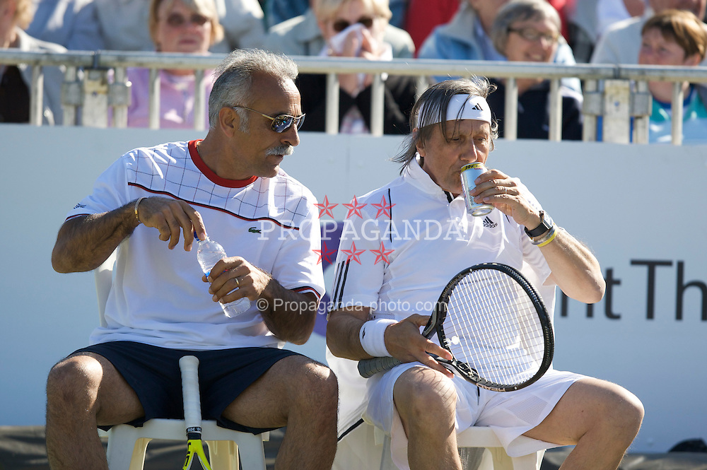 LIVERPOOL, ENGLAND - Thursday, June 12, 2008: Mansour Bahrami (IRN) and Ilie Nastase (ROU) during the Legends' Doubles on Day Three of the Tradition-ICAP Liverpool International Tennis Tournament at Calderstones Park. (Photo by David Rawcliffe/Propaganda)