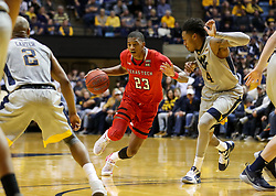 Feb 26, 2018; Morgantown, WV, USA; Texas Tech Red Raiders guard Jarrett Culver (23) dribbles in traffic during the first half against the West Virginia Mountaineers at WVU Coliseum. Mandatory Credit: Ben Queen-USA TODAY Sports