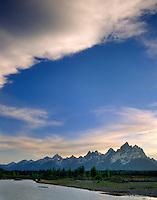 Evening light over the Grand Tetons along the Snake River, Grand Teton National Park, Wyoming USA