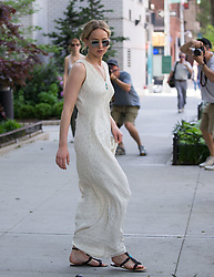 Jennifer Lawrence taking her dog for a walk while out and about in New York City. 19 May 2017 Pictured: Jennifer Lawrence. Photo credit: TMNY / MEGA TheMegaAgency.com +1 888 505 6342