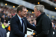 West Ham United manager Slaven Bilic greets Kenny Jackett, the Wolverhampton Wanderers manager before k/o. The Emirates FA cup, 3rd round match, West Ham Utd v Wolverhampton Wanderers at the Boleyn Ground, Upton Park  in London on Saturday 9th January 2016.<br /> pic by John Patrick Fletcher, Andrew Orchard sports photography.