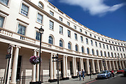 Park Crescent is at the north end of Portland Place in London. It consists of elegant stuccoed semicircular terrace of houses in the Regency style by the architect John Nash. Many are now converted into expensive flats.