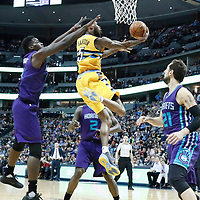 04 March 2017: Denver Nuggets guard Will Barton (5) goes for the reverse layup during the Charlotte Hornets 112-102 victory over the Denver Nuggets, at the Pepsi Center, Denver, Colorado, USA.