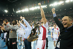 Team of France celebrates after the 21st Men's World Handball Championship 2009 Gold medal match between National teams of France and Croatia, on February 1, 2009, in Arena Zagreb, Zagreb, Croatia. France won 24:19 and became World Champion 2009.  (Photo by Vid Ponikvar / Sportida)