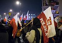 Bialystok, 10.11.2017. Ulicami miasta przeszedl po raz siodmy Marsz Niepodleglosci , zorganizowany wspolnie przez srodowiska prawicowe , konserwatywne , katolickie i narodowe fot Michal Kosc / AGENCJA WSCHOD