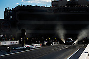 April 22-24, 2016: NHRA 4 Wide Nationals: Funny car dragsters prepare to race