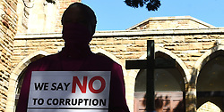 "South Africa -Cape Town - 15 September 2020 -Western Cape church leaders engaged in a public ""silent performance"" against COVID-19 corruption outside St Georges Cathedral and infront of the Premier's office inWale Street, Cape Town.The event is part of a nation-wide campaign against corruption organised during September, Heritage Month, by the South African Council of Churches, under the banner ""Corruption is not our heritage"". Picture:Phando Jikelo/African News Agency(ANA)"