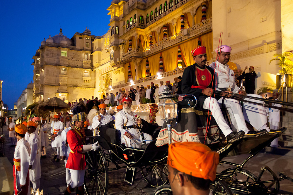 Shriji Arvind Singh Mewar of Udaipur, the 76th Custodian of the House of Mewar, in parade at annual Hindu Holi Fire Festival at The Zenana Mahal in City Palace, Udaipur, Rajasthan, India