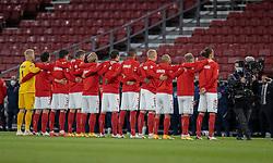 Det danske landshold før UEFA Nations League kampen mellem Danmark og England den 8. september 2020 i Parken, København (Foto: Claus Birch).