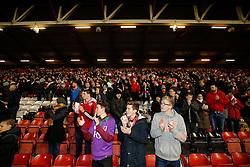 Bristol City Fans welcome the side - Photo mandatory by-line: Rogan Thomson/JMP - 07966 386802 - 29/01/2015 - SPORT - FOOTBALL - Bristol, England - Ashton Gate Stadium - Bristol City v Gillingham - Johnstone's Paint Trophy Southern Area Final Second Leg.