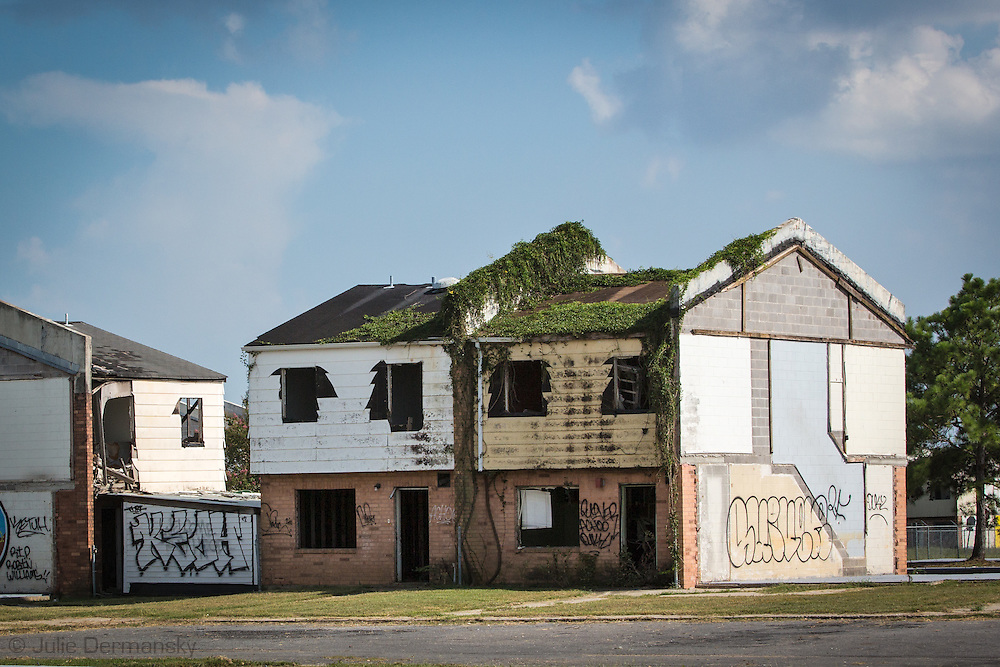 Press Park, in New Orleans Upper 9th Ward, left in a state of ruin, nine years after Hurricane Katrina.