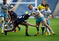 Rugby Union - 2021 Guinness Pro14 Rainbow Cup - Northern Group - Edinburgh vs Glasgow Warriors - Murrayfield<br /> <br /> Tom Lambert of Glasgow Warriors is tackled by Henry Pyrgos of Edinburgh Rugby<br /> <br /> Credit : COLORSPORT/BRUCE WHITE