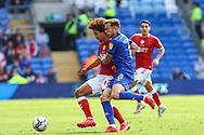 Bristol City's Han-Noah Massengo (42) under pressure from Cardiff City midfielder Joe Ralls (8) during the EFL Sky Bet Championship match between Cardiff City and Bristol City at the Cardiff City Stadium, Cardiff, Wales on 28 August 2021.
