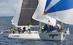 Largs Regatta Festival 2018<br /> <br /> Day 1- RC35 Fleet with GBR8543R, Jings, Robin Young, CCC, J109 and GBR1121L, Tangaroa, Eliz & Des Balmforth, CCC, Pronavia 38<br /> <br /> Images: Marc Turner
