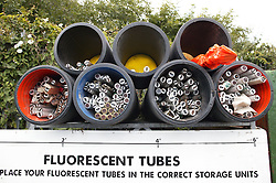 Storage units for recycling florescent tubes at tip,