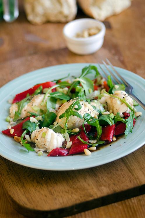 Mozzarella and grilled romano pepper salad