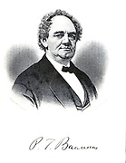 Portrait of P.T. Barnum From the autobiographical Book ' Struggles and triumphs; or, Forty years' recollections of P.T. Barnum ' By Barnum, P. T. (Phineas Taylor), 1810-1891 Published by <br /> The Courier Company Buffalo, N.Y. in 1879. Phineas Taylor Barnum (July 5, 1810 – April 7, 1891) was an American showman, politician, and businessman, remembered for promoting celebrated hoaxes and for founding the Barnum & Bailey Circus (1871–2017). He was also an author, publisher, and philanthropist,