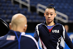 March 2, 2019 - Greensboro, North Carolina, US - LEANNE WONG listens to her coach AL FONG at the Greensboro Coliseum in Greensboro, North Carolina. (Credit Image: © Amy Sanderson/ZUMA Wire)
