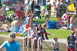 © Licensed to London News Pictures 01/06/2021. Eynsford, UK. People enjoying a hot heat wave day out on the banks of the River Darent in Eynsford, Kent. Photo credit:Grant Falvey/LNP