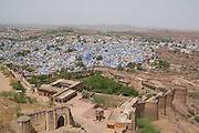 India, Rajasthan, Jodhpur, Mehrangarh fort overlooking the city