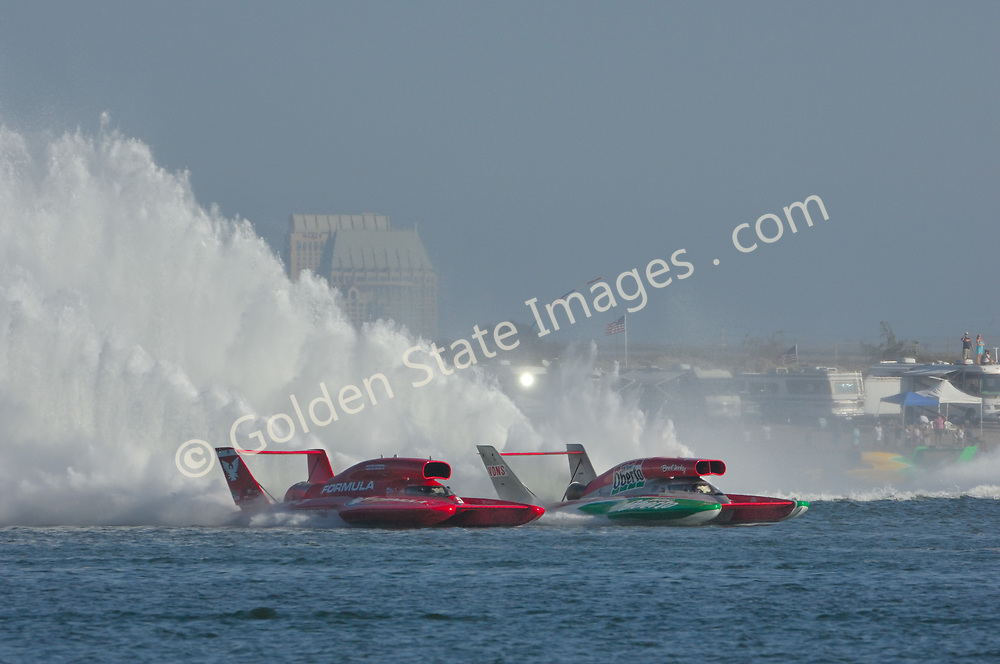 Although it doesnt always happen side by side racing is what the fans come to see.<br /> <br /> Each year in September the unlimited hydroplanes return to San Diego's Mission Bay to put on a show.<br /> <br /> The unlimited boats were once powered by World War II vintage Alison V12 piston engines used in P51 Mustang and other fighter planes. The current generation of boats use jet turbine engines. Their average speed on the 2.5 mile course exceed 150 MPH.