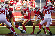 San Francisco 49ers quarterback C.J. Beathard (3) looks for an open receiver against the Arizona Cardinals at Levi's Stadium in Santa Clara, Calif., on November 5, 2017. (Stan Olszewski/Special to S.F. Examiner)