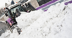 02.01.2015, Bergisel Schanze, Innsbruck, AUT, FIS Ski Sprung Weltcup, 63. Vierschanzentournee, Vorberichte, im Bild Vorbereitungen an den Tribünen//work on the ski jumping hill during preparation of 63rd Four Hills Tournament of FIS Ski Jumping World Cup at the Bergisel Hill in Innsbruck, Austria on 2015/01/02. EXPA Pictures © 2015, PhotoCredit EXPA/ Jakob Gruber