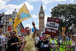 © Licensed to London News Pictures. LONDON, UK  30/06/11. Protesters march through Parliament Square during an anti-cuts protest in Central London. Around 20,000 protesters take to the streets of London to demonstrate against government public sector cutbacks. Please see special instructions for usage rates. Photo credit should read Matt Cetti-Roberts/LNP