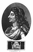 Charles II (1630-1685) King of Great Britain and Ireland from 1660 after restoration of the monarchy. Engraving showing Charles in profile, wearing armour and laurel wreath.