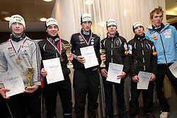 Second placed Marjan Jelenko, winner Mitja Oranic, third placed Gasper Berlot, fourth placed Matej Drinovec, fifth placed Alen Turjak and sixth placed Matic Plaznik at medal ceremony after the cross country race for Slovenian National Nordic combined Championship, on January 5, 2011 at Rudno polje, Pokljuka, Slovenia. (Photo by Vid Ponikvar / Sportida.com)