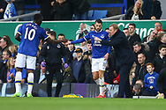 Kevin Mirallas of Everton (c) celebrates with his teammates and manager Ronald Koeman (r) after scoring his teams 1st goal. Premier league match, Everton v West Bromwich Albion at Goodison Park in Liverpool, Merseyside on Saturday 11th March 2017.<br /> pic by Chris Stading, Andrew Orchard sports photography.