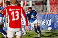 Morten Moldskred, Aalesund, jubler for sin scoring. <br /> <br /> Fotball: Kongsvinger - Aalesund 2-2 (5-2 e. straffer). NM 2004 herrer, 3. runde. 8. juni 2004. (Foto: Peter Tubaas/Digitalsport.