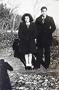 young adult man and woman posing rural France 1946