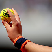 PARIS, FRANCE May 26. A ball boy presents the ball to the serving player on Court Philippe-Chatrier  at the 2019 French Open Tennis Tournament at Roland Garros on May 26th 2019 in Paris, France. (Photo by Tim Clayton/Corbis via Getty Images)
