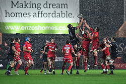 Ospreys' Ben John and Scarlets' David Bulbring contest the high ball - Mandatory by-line: Craig Thomas/Replay images - 26/12/2017 - RUGBY - Parc y Scarlets - Llanelli, Wales - Scarlets v Ospreys - Guinness Pro 14