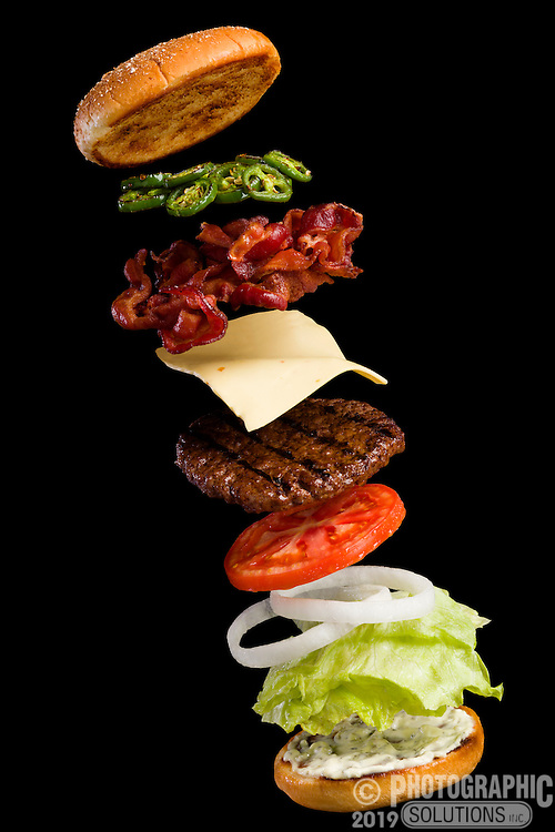 Exploded view of bacon jalapeno burger ingredients