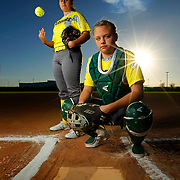 McAllen Rowe softball pitcher Krystal Ramos, left, and catcher Chelsea Boyd. <br /> Nathan Lambrecht/The Monitor